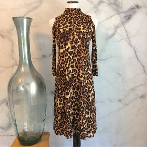 Animal Print Cold Shoulder Dress Size S